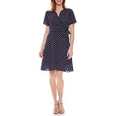 Rabbit Rabbit Rabbit Design Short Sleeve Dots Wrap Dress