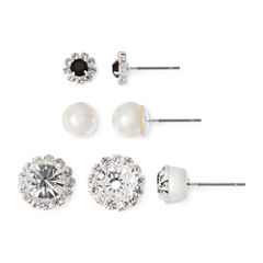 Vieste® 3-pr. Crystal and Simulated Pearl Earring Set