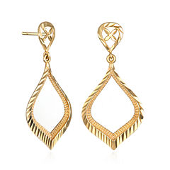 14K Yellow Gold Diamond-Cut Teardrop Earrings