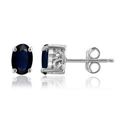 Oval Blue Sapphire Sterling Silver Stud Earrings
