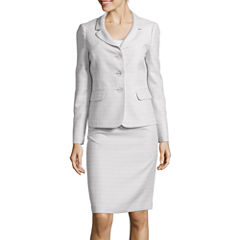 Le Suit® Long-Sleeve Tweed Jacket and Skirt Suit Set