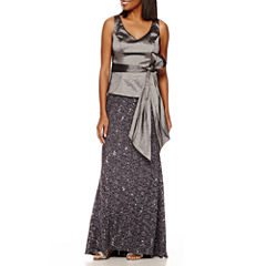 Blu Sage Taffeta-Bodice Glitter-Lace Skirt Gown