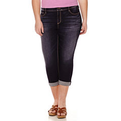 Arizona Roll-Cuff Denim Cropped Pants - Juniors Plus