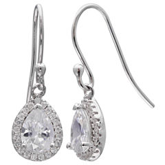 Silver Treasures White Sterling Silver Drop Earrings