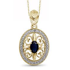 Diamond Accent Blue Sapphire Oval Gold Over Silver Pendant