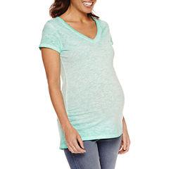 a.n.a Short Sleeve V Neck T-Shirt-Womens Maternity