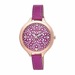 Laura Ashley Womens Geo Print Pink Strap Watch-LA31023PK