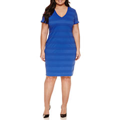 Bisou Bisou Short Sleeve Stripe Sheath Dress-Plus