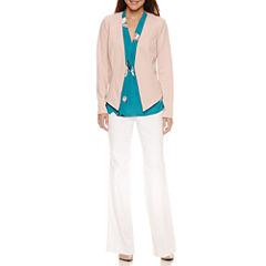 Worthington Long-Sleeve Hi-Lo Blazer, Sleeveless V Neck Blouse, and Modern Fit Trouser Pants