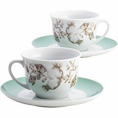 BonJour® Fruitful Nectar 4-pc. Porcelain Teacup and Saucer Set