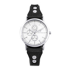 Decree® Girls Black Silver-Tone Vintage Stud Strap Watch