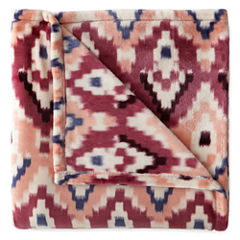 JCPenney Home Velvet Plush Back to Campus Print Throw