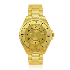 Hampden Mens Gold-Tone Personalized Bracelet Watch