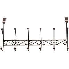 Home Basics 6-Hook Bronze Over-the-Door Hanging Rack