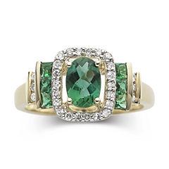 1/7 CT. T.W. Diamond & Emerald 10K Gold Ring