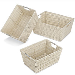 Whitmor Rattique 3-pc. Latte Storage Basket Set