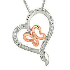1/6 CT. T.W. Diamond Heart and Butterfly Pendant Necklace