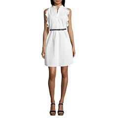 Worthington Sleeveless Ruffle-Trim Shirt Dress