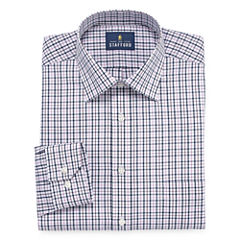Stafford Travel Easy-Care Broadcloth Long Sleeve Broadcloth Checked Dress Shirt