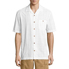 Island Shores Short Sleeve Plaid Button-Front Shirt