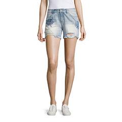Rewash Embroidered Floral Fray Hem Shorts-Juniors