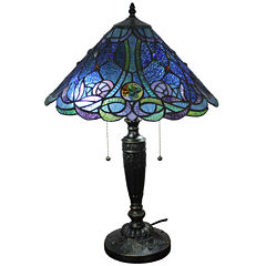 Amora Lighting AM1102TL16 Tiffany Style Blue TableLamp 24 Inches Tall