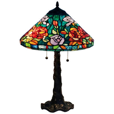 Amora Lighting AM1104TL16 Tiffany Style Roses Design Table Lamp 24 Inches  Tall