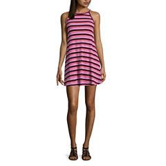 Arizona Sleeveless Stripe Swing Dresses-Juniors