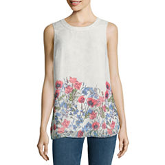 Alyx Sleeveless Round Neck Chiffon Floral Blouse
