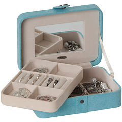 Mele & Co. Giana Aqua Plush Fabric Jewelry Box w/ Lift-Out Tray