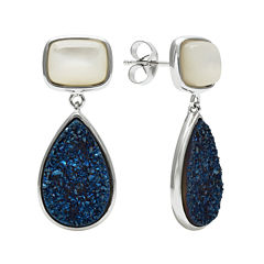 Mother-of-Pearl & Genuine Drusy Sterling Silver Drop Earrings