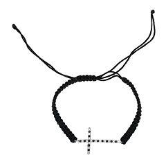 Diamond Accent & Lab-Created Blue Sapphire Sterling Silver Cross Bracelet