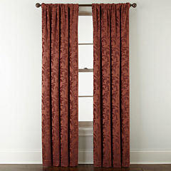 Royal Velvet® Chenille Scroll Rod-Pocket/Back-Tab Curtain Panel