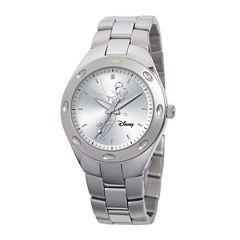 Disney Fortaleza Tinker Bell Womens Oversized Silver-Tone Watch