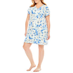Collette By Miss Elaine Short Sleeve Robe-Plus