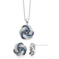 1/10 CT. T.W. White and Color-Enhanced Blue Diamond Love Knot Pendant 2-pc. Set