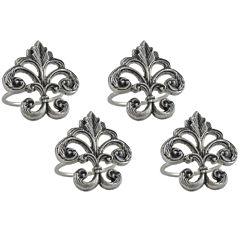 Design Imports Fleur De Lis Set of 4 Brass Napkin Rings