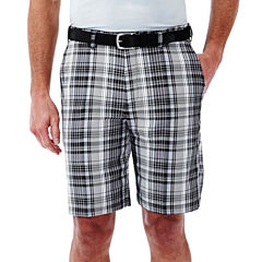Haggar® Cool 18® Classic-Fit Flat-Front Patterned Shorts