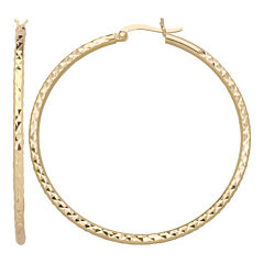14K Gold Over Silver Diamond-Cut Hoop Earrings