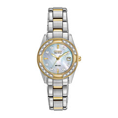 Citizen® Eco-Drive® Regent Womens Diamond-Accent Mother-of-Pearl Bracelet Watch EW1824-57D