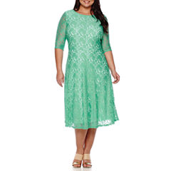 Signature by Sangria 3/4-Sleeve Lace Fit-and-Flare Dress - Plus
