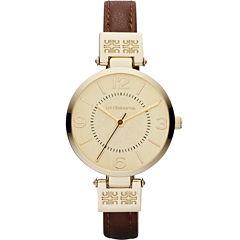 Liz Claiborne® Womens Gold-Tone Watch with Skinny Leather Strap