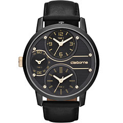 Claiborne Mens Oversized Dial Black Leather Strap Watch