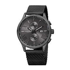 Akribos XXIV Mens Black Stainless Steel Mesh Bracelet Watch