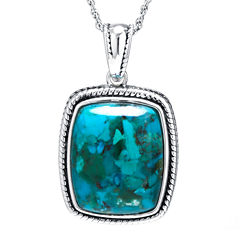 Enhanced Turquoise Sterling Silver Rectangular Pendant Necklace