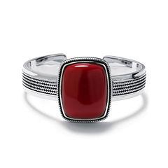 Simulated Red Jasper Sterling Silver Rectangular Cuff Bracelet
