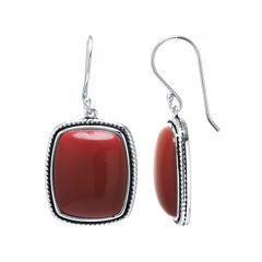 Simulated Red Jasper Sterling Silver Rectangular Drop Earrings