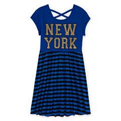 Total Girl® Short-Sleeve Stripe Cross-Back Skater Dress - Girls 7-16 and Plus
