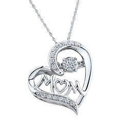 1/10 CT. T.W. Diamond Mom Heart Sterling Silver Pendant Necklace