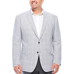 Stafford Linen Cotton Quiet Charcoal Plaid Sport Coat- Big and Tall